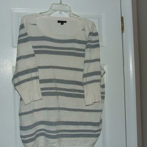 Lane Bryant Beige & Grey Striped Top Size 22/24